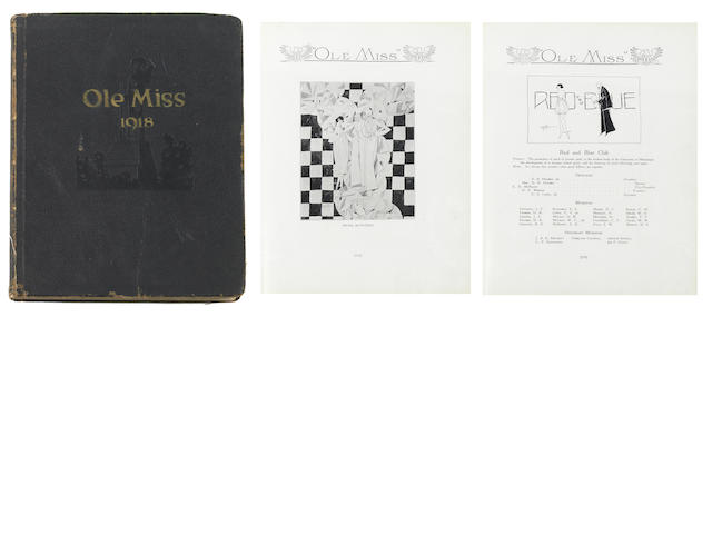 [FAULKNER, WILLIAM.] Ole Miss. The Year Book of the University of Mississippi. Vol. XXII. 1917-1918. with Faulkner contributions on pp.111 & 113. LIT