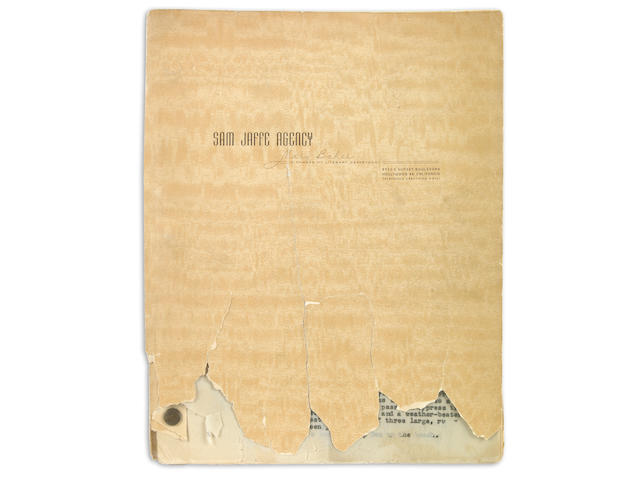STEINBECK SCRIPT OF CANNERY ROW? Typed Carbon, 144 pp, 4to, n.p., [c.1948], being a screenplay adaptation of Cannery Row,