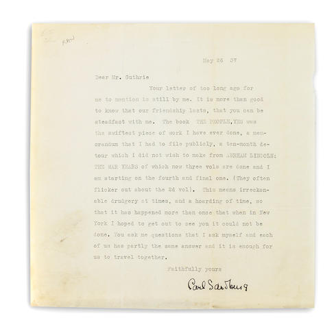 "SANDBURG, CARL. Typed Letter Signed (""Carl Sandburg""), 1 p, Harbert, Michigan, May 26, 1937, to ""Mr. Guthrie,"" on personal letterhead, creased, tiny chip to edge,"