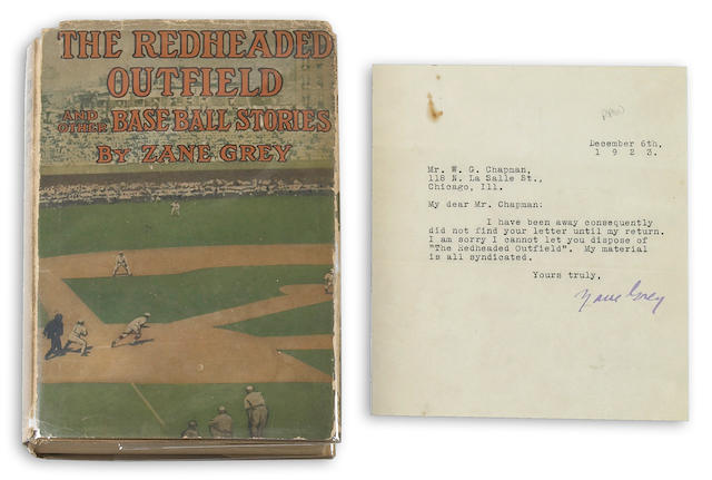 GREY, ZANE.  1872-1939. The Redheaded Outfield and Other Baseball Stories. New York: Grosset and Dunlap, [1920 but 1922].
