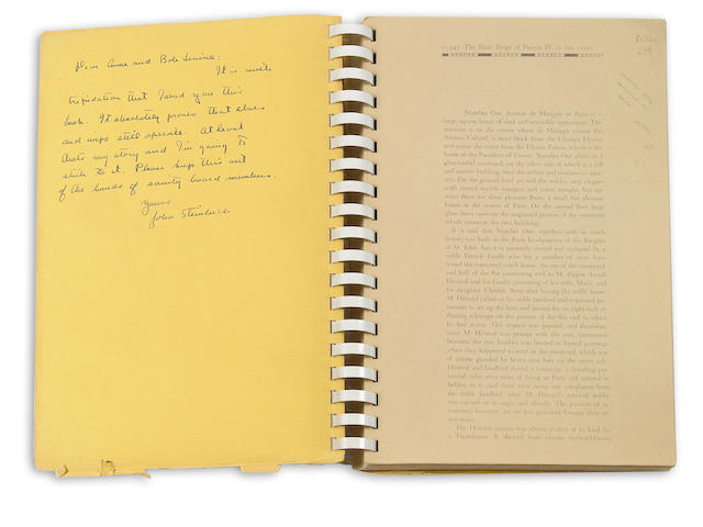 Steinbeck. Short Reign of Pippin IV. Proof, inscribed