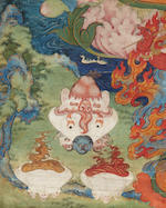 A fine Tibetan thangka of Vajravarah, Central Tibet, Late 17th/Early 18th century