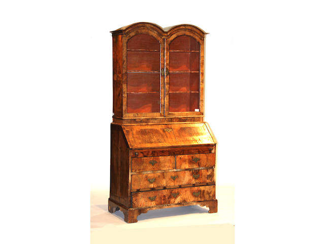 A George I walnut secretary bookcase first quarter 18th century