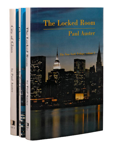 AUSTER, PAUL. [The New York Trilogy] City of Glass; Ghosts; The Locked Room. Los Angeles: Sun & Moon Press, [1985-1986.]