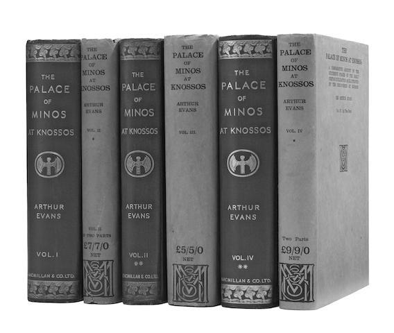 EVANS, ARTHUR JOHN, SIR. 1851-1941. The Palace of Minos at Knossos. London: Macmillan and Co., 1921-1935.