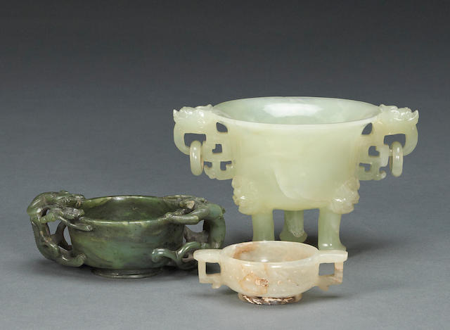 A group of three small jade and hardstone vessels
