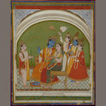 An Indian miniature painting depicting Krishna and high consort, framed