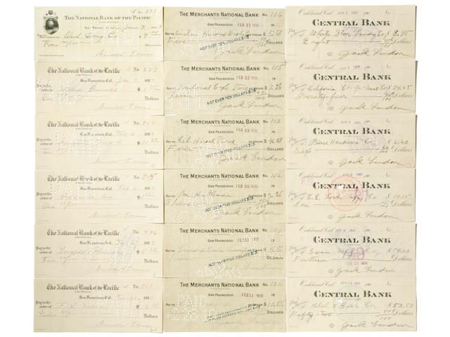 LONDON, JACK. 1876-1916. Approx. 250 checks accomplished and signed by London, all 2 3/4 by 7 inches,