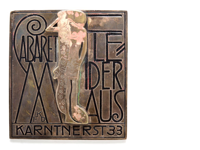 A Franz Karl Delavilla silvered and enameled bronze Kabaret Fledermaus plaque circa 1907