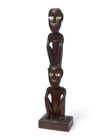 Tobi Squatting Figure Pair, Belau (Palau), Caroline Islands