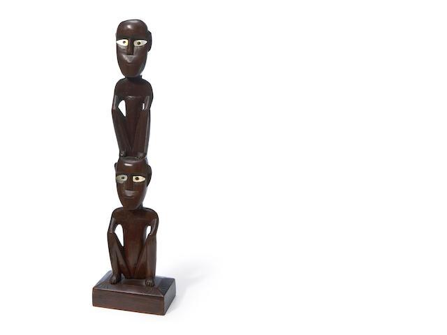 Tobi Squatting Figure Pair, Belau (Palau), Caroline Islands