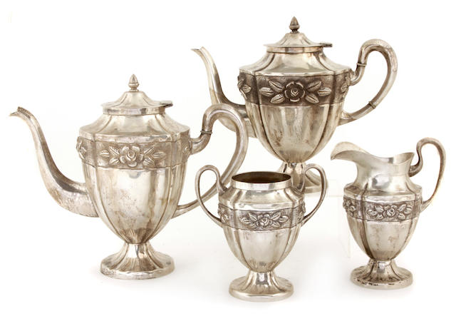A Mexican sterling silver four piece tea and coffee service Maciel, mid-20th century