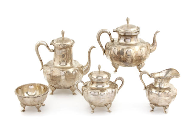 A Mexican sterling silver five piece tea and coffee service First half 20th century