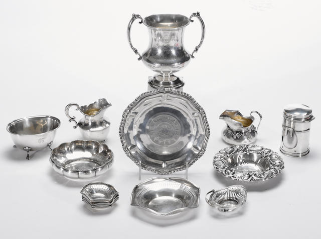 A group of sterling table articles