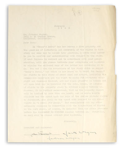 "STEINBECK, JOHN. Document Signed (""John Steinbeck""), 1 p, 4to, Hollywood, CA, February, 1943, being an agreement between Steinbeck and Jack Wagner regarding authorship of ""Benny's Medal,"""