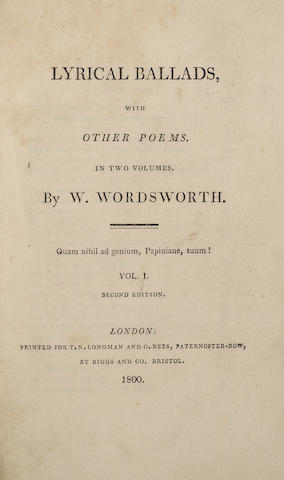 WORDSWORTH, WILLIAM. 1770-1850. & SAMUEL TAYLOR COLERIDGE. 1772-1834. Lyrical Ballads. London: T.N. Longman and O. Rees, 1800.