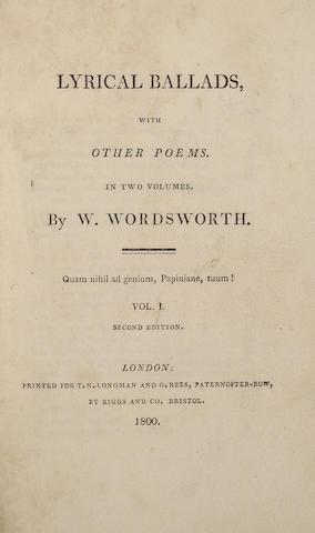 WORDSWORTH, WILLIAM. 1770-1850. & SAMUEL TAYLOR COLERIDGE. 1772-1834. Lyrical Ballads. London: T.N. Longman and O. Rees, 1800.
