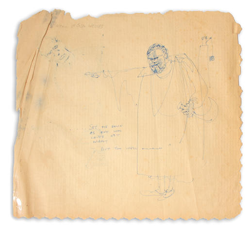 WELLES, ORSON.  1915-1985. Original pen and ink on paper, 16 by 16 inches, of Welles as Othello,