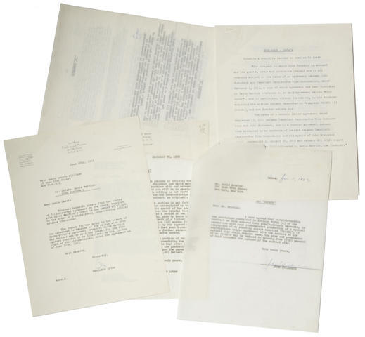 "STEINBECK, JOHN. 1902-1968. Typed Document Signed twice (""John Steinbeck""), 10 pp, 4to, New York, June 11, 1963, being an agreement between Steinbeck and David Merrick regarding the stage adaptation of Viva, Zapata!,"