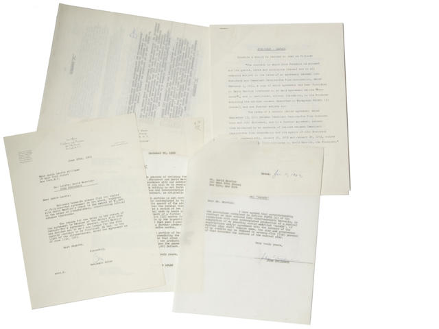 "STEINBECK, JOHN. Typed Document Signed twice (""John Steinbeck""), 10 pp, 4to, New York, Junme 11, 1963, being an agreement between Steinbeck and David Merrick regarding the stage adaptation of Viva, Zapata!,"