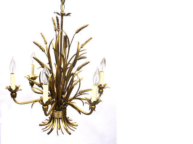 A gilt metal floriform six-light chandelier