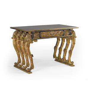 A lacquered and carved gilt wood altar table with , mother-of-pearl inlaid and engraved brass-mounted decoration Late Meiji period