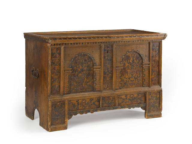 A Continental Baroque painted pine chest<BR />Germany or Switzerland<BR />late 18th century