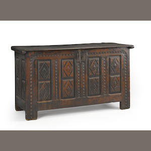 A Continental oak chest. late 17th century