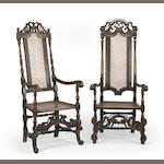 Two Charles II carved walnut armchairs<BR />17th century
