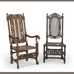 Two Charles II carved oak chairs<BR />17th century