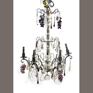 A Rococo style colored and clear glass chandelier