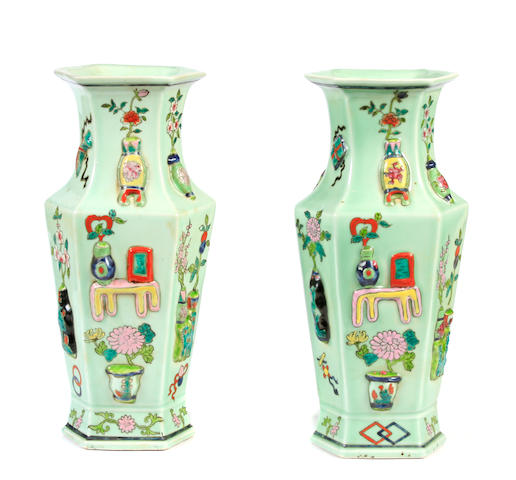 A pair of Chinese hexagonal vases
