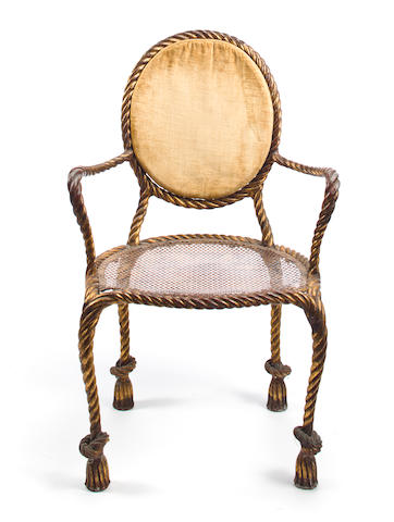 A Victorian cast iron rope-twist side chair second half 19th century height 38 1/2in