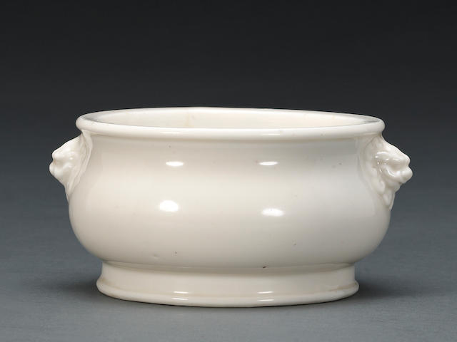 A blanc de chine footed censer 17th Century, rim crack