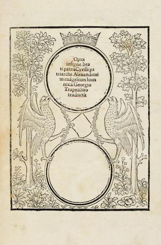 CYRIL OF ALEXANDRIA, SAINT, c.375-444. Opus in evangelium Joannis. Paris: Wolfgang Hopyl for himself, Jean Petit, and Thielmann Kerver, 1508.