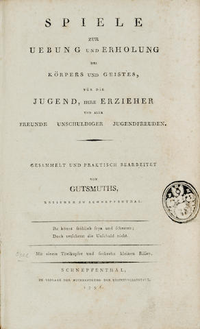 BASEBALL. GUTSMUTHS, JOHANN CHRISTOPH FRIEDRICH. 1759-1839. Spiele zur Uebung und Erholung des Koerpers und Geistes, fuer die Jugend.... Schnepfenthal: Erziehungsanstalt, 1796.