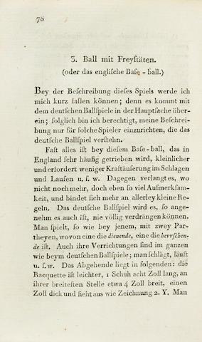 BASEBALL. GUTSMUTHS, JOHANN CHRISTOPH FRIEDRICH. Spiele zur Uebung und Erholung des Koerpers und Geistes, fuer die Jugend.... Schnepfenthal: Erziehungsanstalt, 1796.