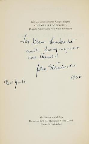 STEINBECK, JOHN. 1902-1968. Die Früchte des Zornes. Zürich: Humanitas Verlag, [1940].