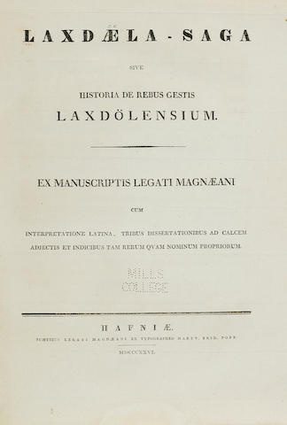 ICELAND. Laxdæla-Saga, sive historia de rebus gestis Laxdölensium. Copenhagen: Legati Magnæani, 1826.