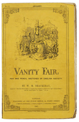 THACKERAY, WILLIAM MAKEPEACE. 1811-1863. Vanity Fair, A Novel Without a Hero. London: Bradbury and Evans, January 1847-July 1848.