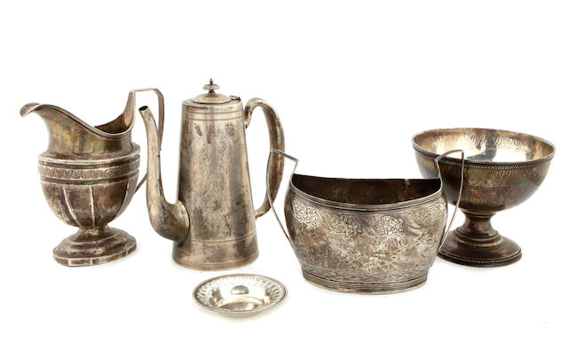 A group of American coin and sterling silver hollowware Late 18th - 20th century