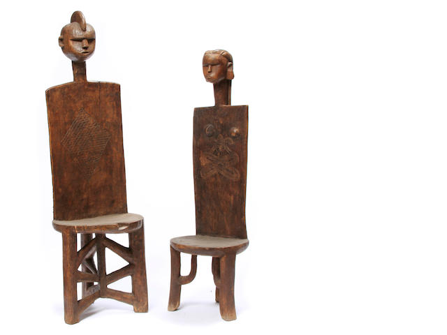 A Pair of Lobi Male and Female Chairs, Burkina Faso height of tallest 47in