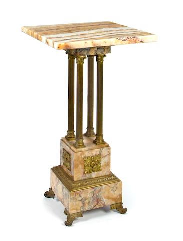 A Neoclassical style gilt bronze mounted onyx and marble stand first half 20th century height30in; width 17in; depth 17in