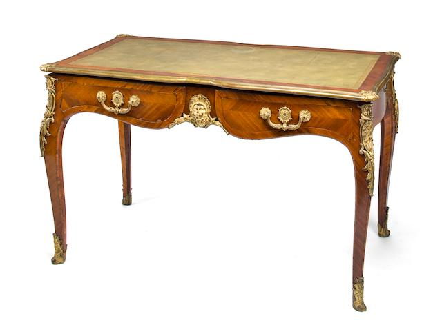 A Louis XV style gilt bronze mounted kingwood bureau plat 20th century height 30 3/4in; width 51in; depth 28in
