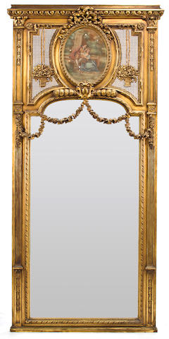 A Louis XVI style giltwood and gilt composition trumeau mirror first half 20th century