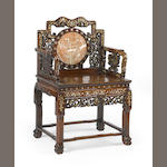 A Chinese inlaid mother of pearl armchair (export)