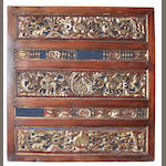 A Southeast Asian parcel gilt carved hardwood panel