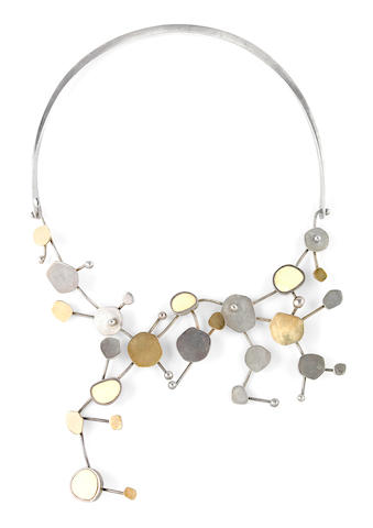 A Scandinavian Modernist sterling silver, 14k gold and ivory necklace possibly Uni David Andersen, Oslo, third quarter 20th century