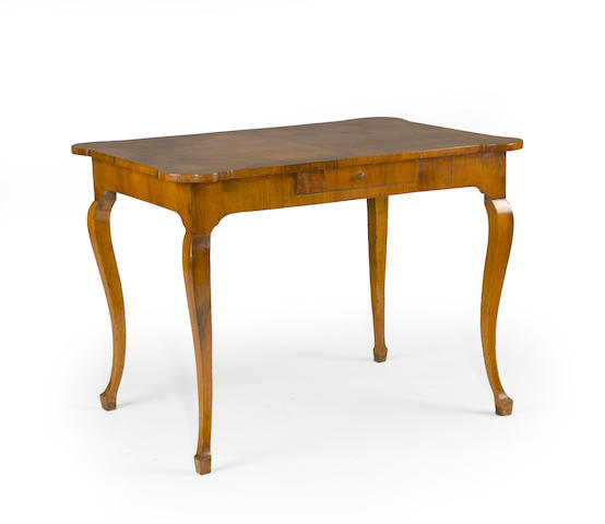 An Italian Rococo fruitwood writing table third quarter 18th century