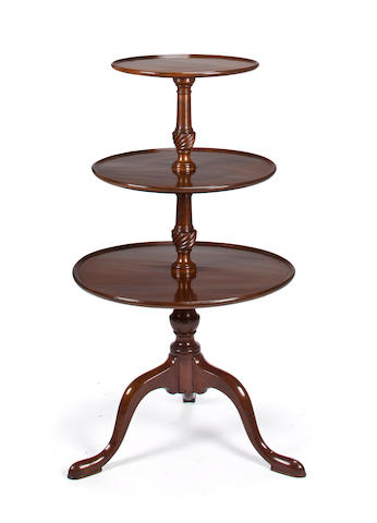A George III mahogany three tier dumb waiter